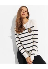 Ermanno Firenze - ERMANNO FIRENZE - Wełniany sweter z dodatkiem kaszmiru. Kolor: biały. Materiał: kaszmir, wełna. Długość rękawa: długi rękaw. Długość: długie. Wzór: haft