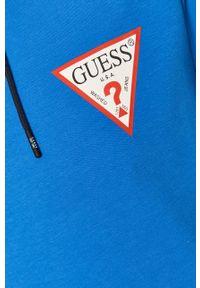 Niebieska bluza nierozpinana Guess na co dzień, z kapturem, casualowa