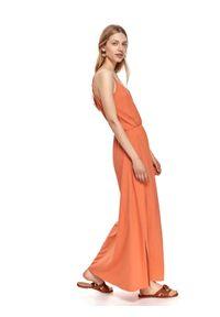 DRYWASH - Sukienka maxi z gumką w pasie. Kolor: pomarańczowy. Typ sukienki: koszulowe. Długość: maxi