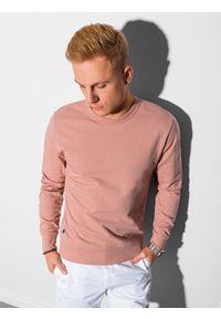 Ombre Clothing - Bluza męska bez kaptura B1153 - różowa - XXL. Typ kołnierza: bez kaptura. Kolor: różowy. Materiał: bawełna, jeans, poliester. Styl: klasyczny, elegancki