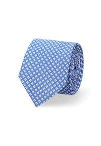 Lancerto - Krawat Niebieski w Kwiatki. Kolor: niebieski. Materiał: tkanina, mikrofibra. Wzór: kwiaty. Styl: elegancki