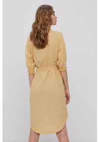Vero Moda - Sukienka. Okazja: na co dzień. Kolor: żółty. Materiał: bawełna, tkanina. Typ sukienki: proste. Styl: casual