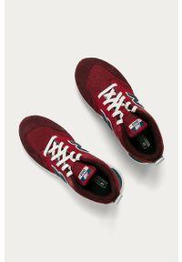 Czerwone buty sportowe New Balance na sznurówki, z okrągłym noskiem, z cholewką