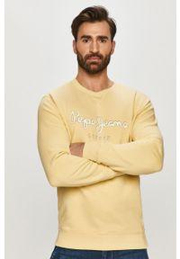 Żółta bluza nierozpinana Pepe Jeans z nadrukiem, casualowa