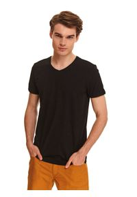 Czarny t-shirt TOP SECRET w kolorowe wzory, z krótkim rękawem, krótki, z klasycznym kołnierzykiem