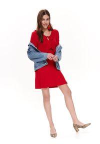 Czerwona sukienka TROLL casualowa, na wiosnę, z falbankami