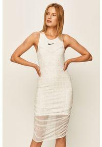 Biała sukienka Nike Sportswear na co dzień, z okrągłym kołnierzem, mini, casualowa