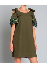 Zielona sukienka Pinko elegancka, mini, na lato, z falbankami