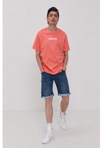 Levi's® - Levi's - T-shirt. Okazja: na co dzień, na spotkanie biznesowe. Kolor: pomarańczowy. Materiał: dzianina. Wzór: nadruk. Styl: biznesowy, casual