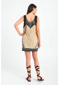 Sukienka TwinSet bez rękawów, prosta, mini, z aplikacjami