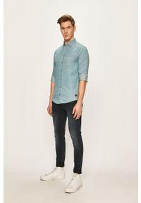 Niebieska koszula Blend button down, długa, casualowa, na co dzień