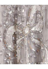 NEEDLE & THREAD - Sukienka mini Shirley Ribbon. Kolor: szary. Materiał: tiul. Wzór: aplikacja. Typ sukienki: rozkloszowane. Długość: mini
