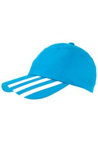 Niebieska czapka z daszkiem Adidas w kolorowe wzory
