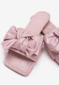Renee - Różowe Klapki Taphixa. Kolor: różowy. Materiał: zamsz, materiał. Wzór: aplikacja. Obcas: na obcasie. Styl: klasyczny. Wysokość obcasa: niski