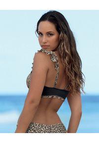 DEL MAAR - Top od bikini w cętki Kita. Kolor: czarny. Wzór: motyw zwierzęcy