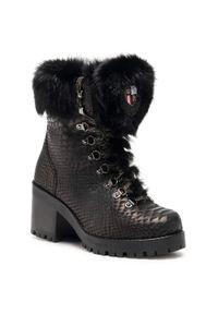 Czarne botki New Italia Shoes na średnim obcasie, na obcasie, z cholewką