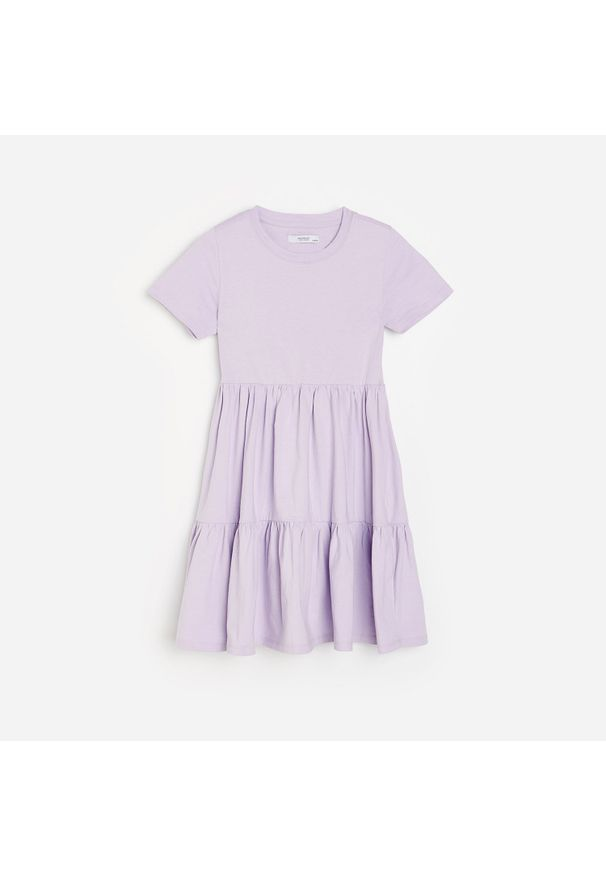 Reserved - Sukienka z marszczeniami - Fioletowy. Kolor: fioletowy