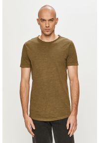 Oliwkowy t-shirt Jack & Jones na co dzień, casualowy, gładki
