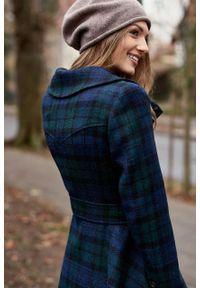 Marie Zélie - Płaszcz Achillea granatowo-zielona krata – wełna Harris Tweed®. Kolor: zielony, wielokolorowy, niebieski. Materiał: wełna. Wzór: ze splotem