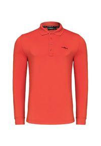 Czerwona koszulka polo Chervo z długim rękawem, w prążki