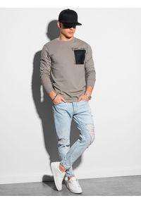 Ombre Clothing - Longsleeve męski z nadrukiem L130 - beżowy - XXL. Kolor: beżowy. Materiał: bawełna, tkanina. Długość rękawa: długi rękaw. Wzór: nadruk #3