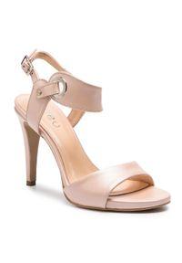 Różowe sandały Edeo eleganckie, na średnim obcasie