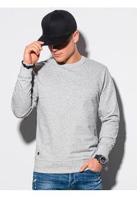 Ombre Clothing - Bluza męska bez kaptura B1153 - szary melanż - XXL. Typ kołnierza: bez kaptura. Kolor: szary. Materiał: poliester, bawełna. Wzór: melanż