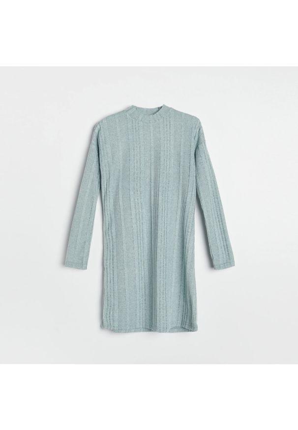 Reserved - Dzianinowa sukienka - Turkusowy. Kolor: turkusowy. Materiał: dzianina