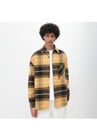 Reserved - Kurtka koszulowa w kratę - Żółty. Kolor: żółty