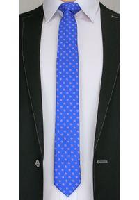 Stylowy Krawat Męski w Mały Wzór Paisley - 6 cm - Angelo di Monti, Niebieski. Kolor: niebieski. Wzór: paisley. Styl: elegancki