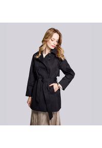 Czarny płaszcz Wittchen krótki, elegancki, na lato, raglanowy rękaw