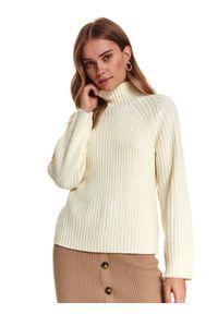 TOP SECRET - Damski sweter z golfem. Typ kołnierza: golf. Kolor: beżowy. Materiał: materiał. Długość: długie. Sezon: zima. Styl: elegancki