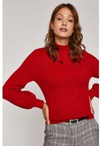 Czerwony sweter medicine z długim rękawem, z golfem