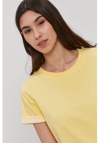 Jacqueline de Yong - Sukienka. Okazja: na co dzień. Kolor: żółty. Materiał: dzianina, bawełna. Długość rękawa: krótki rękaw. Wzór: gładki. Typ sukienki: proste. Styl: casual
