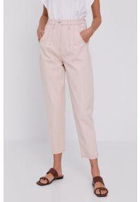 Różowe jeansy loose fit Beatrice B gładkie, z podwyższonym stanem