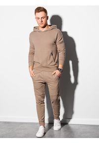 Ombre Clothing - Bluza męska z kapturem B1188 - jasnobrązowa - XXL. Typ kołnierza: kaptur. Kolor: brązowy. Materiał: bawełna, poliester