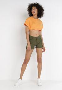 Born2be - Zielone Szorty Kisyse. Kolor: zielony. Materiał: bawełna, materiał, jeans. Długość: krótkie. Wzór: aplikacja