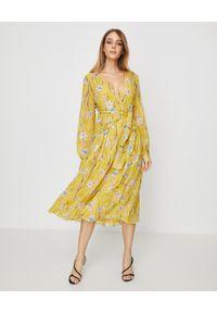 Żółta sukienka Pinko midi, rozkloszowana, na wiosnę, w kwiaty