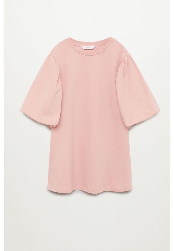 Różowa sukienka Mango Kids mini, casualowa, z okrągłym kołnierzem