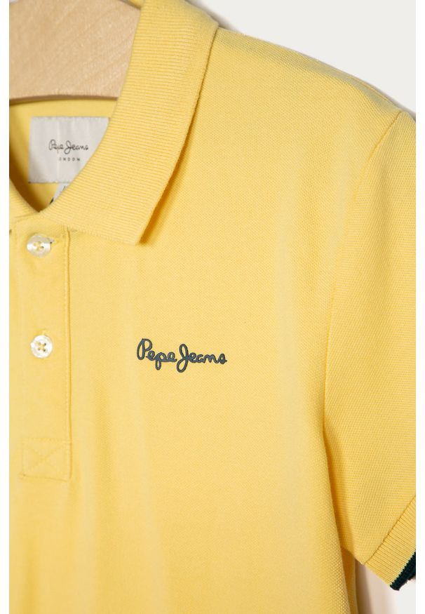 Żółty t-shirt polo Pepe Jeans na co dzień, casualowy, polo