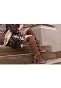 Brązowe kozaki Zapato na randkę, klasyczne, z cholewką, na zimę #5