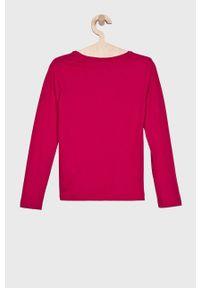 Różowa bluzka Guess Jeans na co dzień, z nadrukiem, długa