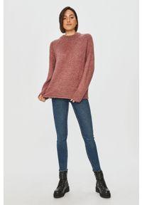 Różowy sweter Answear Lab długi, z długim rękawem, wakacyjny