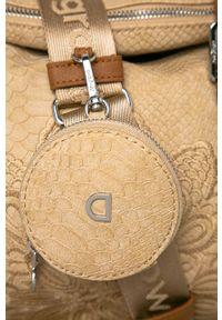 Beżowa shopperka Desigual skórzana, na ramię, z haftem, z haftami