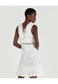 Biała sukienka mini Patrizia Pepe wakacyjna, z haftami