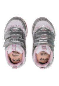 Geox - Sneakersy GEOX - B Todo G. A B1585A 0NF14 C0566 Silver/Pink. Okazja: na uczelnię, na spacer, na co dzień. Zapięcie: rzepy. Kolor: srebrny, wielokolorowy, biały. Materiał: skóra, materiał. Styl: casual