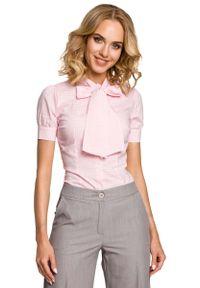 Różowa bluzka koszulowa MOE w kratkę