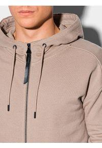 Ombre Clothing - Bluza męska rozpinana z kapturem B1189 - popielata - XXL. Typ kołnierza: kaptur. Kolor: szary. Materiał: bawełna, dzianina, jeans, poliester. Długość: długie