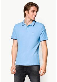 Niebieska koszulka polo Lancerto polo, z krótkim rękawem, w kolorowe wzory