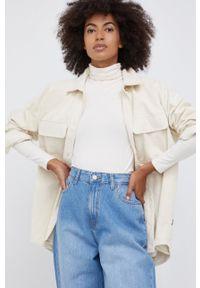 Dr. Denim - Koszula bawełniana Mona. Kolor: beżowy. Materiał: bawełna, denim. Długość rękawa: długi rękaw. Długość: długie. Wzór: gładki